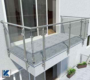 Balkongeländer aus Edelstahl mit einer Füllung aus Verbund-Sicherheitglas, Scheiben in Glasklemmen gehalten