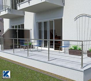 Terrassengeländer mit einer Füllung aus konfektionierten Edelstahl-Seilen, Geländer - Pfosten und - Handlauf aus Edelstahlrohr