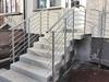 beidseitige Geländer aus Edelstahl mit 6 Querstreben in seitlicher Montage mit Wangenplatten