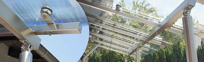Punktglashalter für Edelstahlvordach mit LED - Beleuchtung