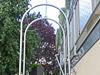 grebogene Edelstahlrohre zu einem Rosenbogen verarbeitet