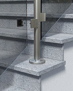 Geländerpfosten Montage aufgesetzt mit Bodenplatte 100 mm - Montageschritt 04
