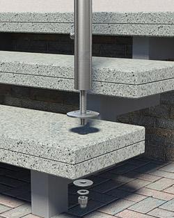 Geländerpfosten Montage auf freitragenden Stufen - Pfostenende mit Gewindescheibe - Montageschritt 02