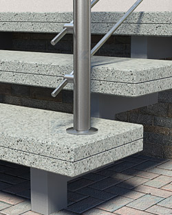 Geländerpfosten Montage auf freitragenden Stufen - Pfostenende mit Gewindescheibe - Montageschritt 04