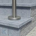 Pfosten Befestigung: aufgesetzte Montage mit Bodenplatte - Edelstahlronde mit Abdeckrosette