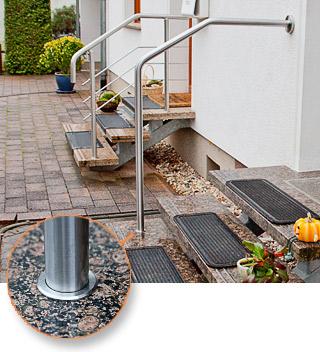 freistehender gebogener Handlauf auf einer freitragenden Eingangstreppe