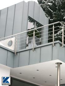 Körting Geländer aus Edelstahl für Balkon mit Geländerpfosten aus Flachstahl