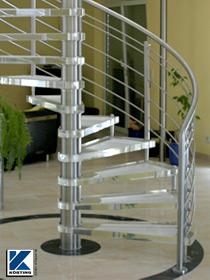 Körting Geländer aus Edelstahl auf einer Edelstahl-Spindeltreppe mit Stufen aus Acryl