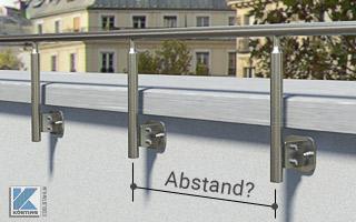 Geländer Pfosten Abstand bei seitlicher Montage