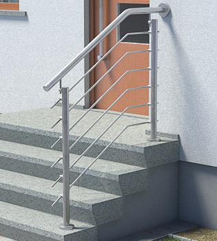 Treppengeländer Edelstahl Preise für Eingangstreppen mit kurzem Treppenpodest