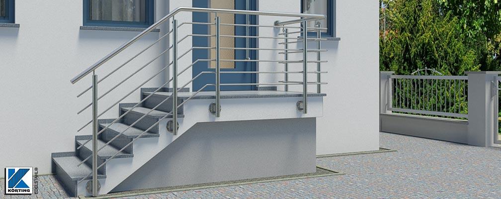 Treppengeländer mit Querstreben von Körting EDELSTAHL
