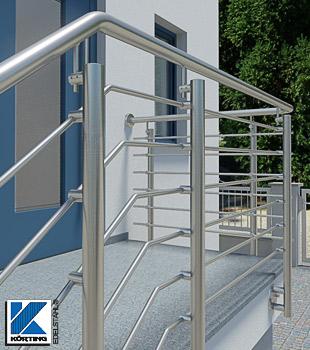 Treppengeländer aus Edelstahl außen - Treppengeländer mit Querstreben im Stabhaltersystem