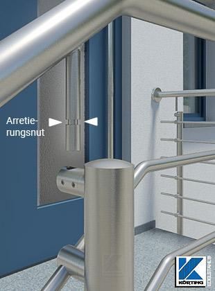 Treppengeländer Handlaufmontage über angeschweißten Handlaufträger mit Arretierungsnut
