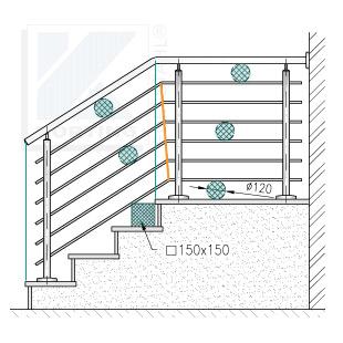 Treppengeländer in aufgesetzter Montage - lichte Abstände der Querstreben