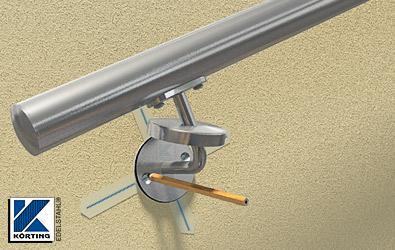 die Bohrlöcher der Handlaufhalter werden auf dem Krebband angezeichnet