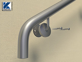 Detailansicht eines gebogenen Handlaufes aus Edelstahl - das Edelstahlrohr 42,4x2,6 mm wird in einem Stück gebogen, es ist kein Stoß sichtbar