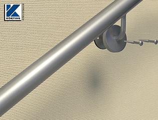 Edelstahlhandläufe, welche aus einem Stück gebogen werden können bis zu 6 laufende Meter lang sein, es ist kein Rohrstoß sichtbar