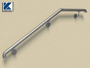 Handlauf aus Edelstahl aus Systemteilen gesteckt und verklebt mit verschraubten Handlaufhaltern