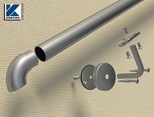 Detailansicht eines gesteckten Handlaufes - das Edelstahlrohr wird zugeschnitten und das Bogenstück wird in das Rohr eingeklebt, es bleibt ein Rohrstoß sichtbar
