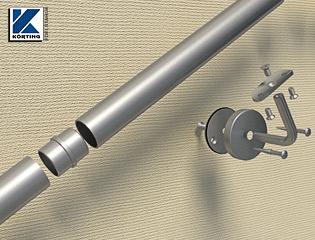 längere Edelstahlhandläufe aus Systemteilen müssen auf Grund der kürzeren Rohrzuschnitte mit Hilfe von Klebhülsen auf der geraden Länge aus mehreren Teilen verklebt werden