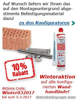 Aktion für Handläufe mit Befestigungsmaterial