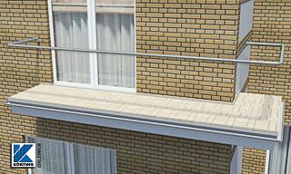 Balkongeländer - 3x gebogener Edelstahl Handlauf