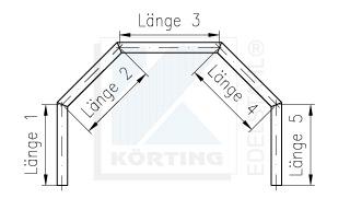 Zeichnung für Handlauf mit 4 Gehrungsbögen