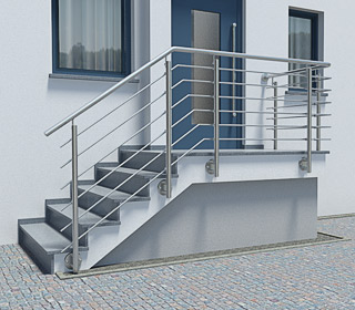 Edelstahl Treppengeländer an einer Außentreppe mit Eckpodest