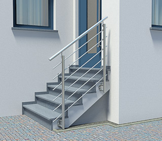 Edelstahl Treppengeländer an einer Außentreppe ohne Podest
