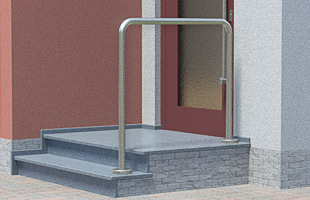 Handlauf freistehend für Eingangstreppe mit 2 Steigungen und langem Podest - 2x gebogen
