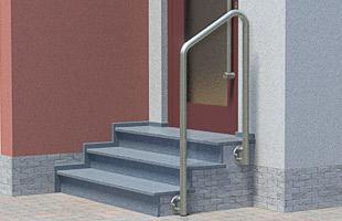 Handlauf freistehend für Eingangstreppe mit kurzem Podest - 2x gebogen, in seitlicher Montage
