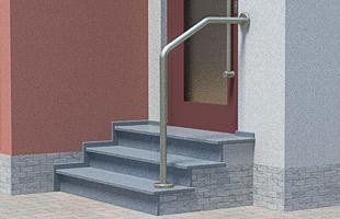 Handlauf freistehend für Eingangstreppe, oben mit Wandbefestigung - 2x gebogen, in aufgesetztet Montage