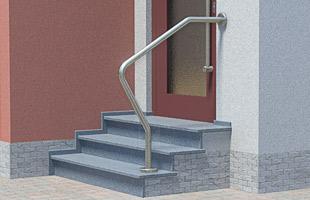 Handlauf freistehend für Eingangstreppe, oben mit Wandbefestigung - 3x gebogen