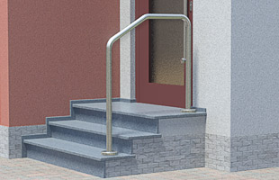 Handlauf freistehend für Eingangstreppe - 3x gebogen, in aufgesetztet Montage