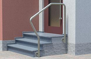 """Handlauf freistehend für Eingangstreppe - 4x gebogen (""""mit Nase""""), in seitlicher Montage"""