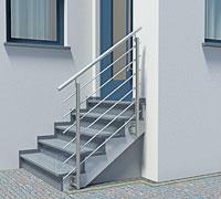 Treppengeländer aus Edelstahl für gerade Aussentreppe