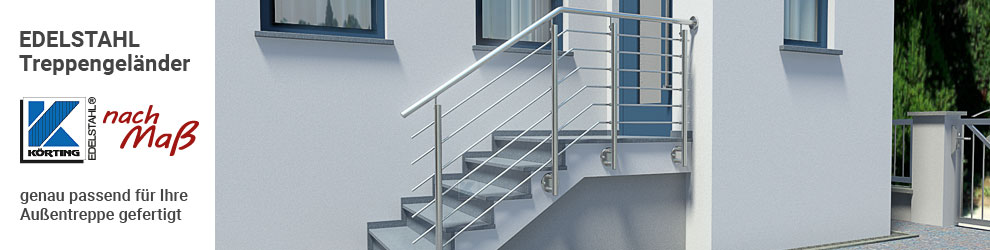 Edelstahl Treppengeländer mit Querstreben und seitlicher Montage an einer geraden Hauseingangstreppe mit Podest im Außenbereich