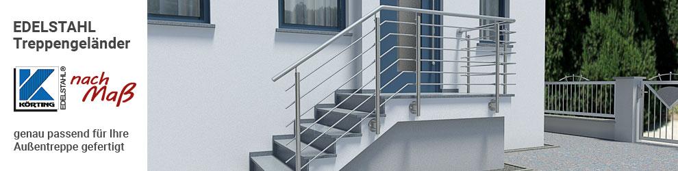 Edelstahl Treppengeländer mit Querstreben und seitlicher Montage an einer Hauseingangstreppe über Eck mit Podest im Außenbereich