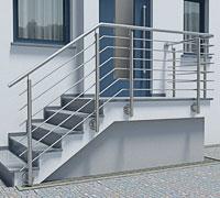 Treppengeländer aus Edelstahl für Aussentreppe mit Podest - abgewinkelter Verlauf (2 Bögen)