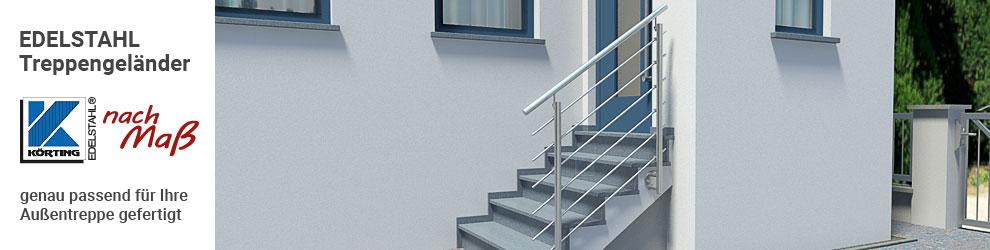 Edelstahl Treppengeländer mit Querstreben und seitlicher Montage an einer geraden Hauseingangstreppe im Außenbereich