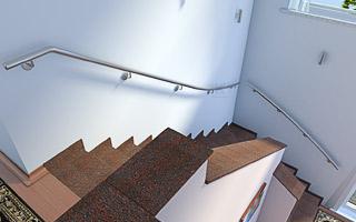 Treppenhandlauf aus Edelstahl für viertelgewendelte Innentreppe