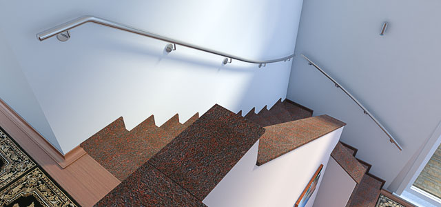 Edelstahl Handlauf für viertelgewendelte Treppe konfigurieren