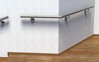 Treppenhandlauf aus Edelstahl für Innen gebogen für eine Außenecke