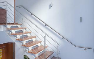 Treppenhandlauf aus Edelstahl für Innentreppe 2x gebogen