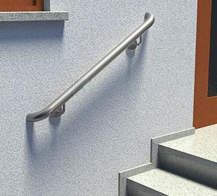 Treppenhandläufe aus Edelstahl, gerade, mit stabilen angeschweißten Haltern und LED-Modul bei Tag