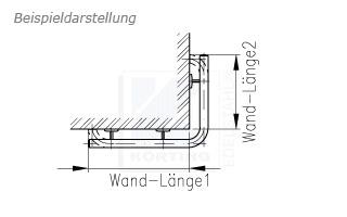 Treppenhandlauf aus Edelstahl für Innen gebogen für eine Außenecke - Zeichnung
