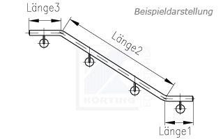 Treppenhandlauf aus Edelstahl für Innentreppe 2x gebogen - Zeichnung