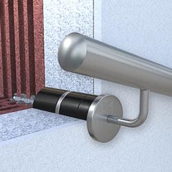 Handlaufhalter an gedämmter Hausfassade befestigen