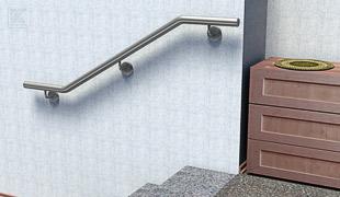 Edelstahl Werkstoff Korrosionswiderstandsklasse II - V2A - zweimal gebogene Treppenhandläufe für den Innenbereich