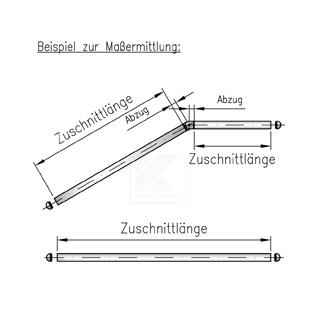 Bitte beachten Sie bei der Angabe der Rohrzuschnittlänge die Abzüge entsprechend der zuvor ausgewählten Rohrverbinder.